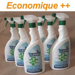 Lot de 6 sprays Sagewash Sanitizer en 750 ml.