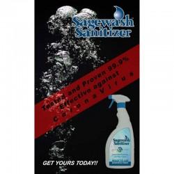 la solution désinfectante SAGEWASH SANITIZER testée et prouvée efficace à 99,9% pour la destruction du CoronaVirus.