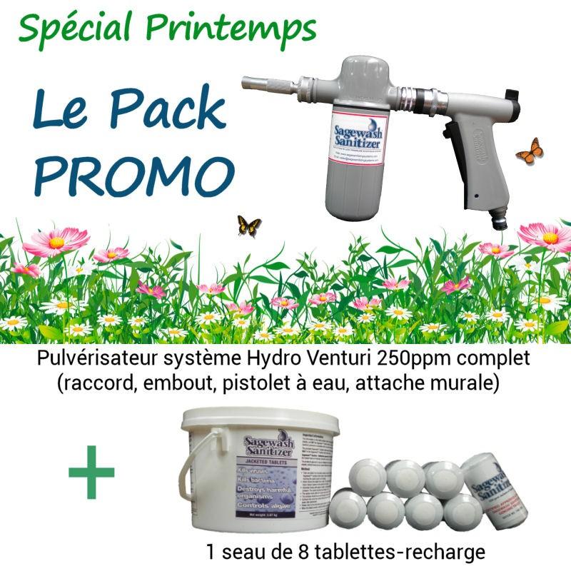 Pack promo - 1 Pulvérisateur professionnel 250ppm à Hydro Venturi + 1 seau de 8 tablettes